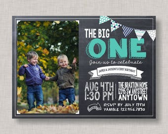 Twin First Birthday Invitation, First Birthday Invitation, Twins, Boy Twin Birthday, Boys, Twins, Cousins, Friends, Brothers, Bunting, BBQ