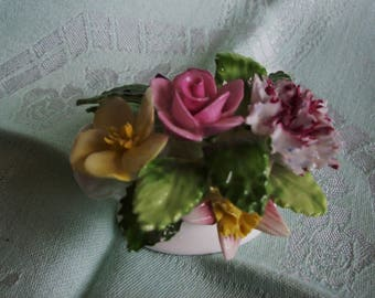 Royal Adderley floral bouquet in bowl, fine bone china flowers