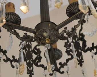 Vintage Cherub European Brass Chandelier FREE DOMESTIC SHIPPING