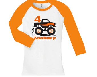 Personalized Monster Truck Birthday Shirt -  cropped/long sleeve fitted raglan shirt - any age and name - pick your colors!