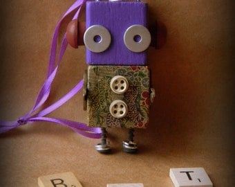 Robot Ornament - Flower Bot (Purple) - Upcycled Ornament - Hanging Decor by Jen Hardwick
