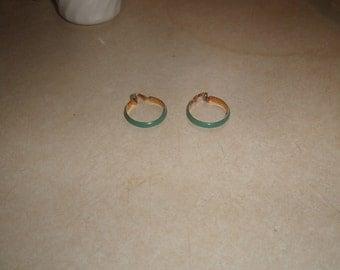 vintage clip on earrings goldtone turquoise enamel hoops