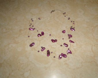 vintage necklace triple strand purple glass