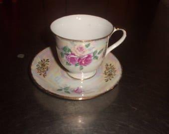 vintage bone china tea cup saucer set pink yellow roses gold trim
