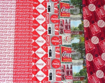 Coca Cola Fabric, Coca Cola Bottles, Coca Cola  Signs, Coke Ads, Coke Bottle Caps, Coca Cola Logos, Fat Quarters, 7 Different Fabrics