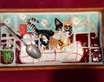 Calico kitty handmade tray