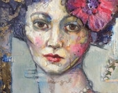 """ON SALE NOW Original mixed media portrait on canvas, small mixed media portrait with gold 8x10 """" Sweet Lily"""""""