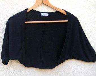 VINTAGE Black Bolero, Machine Knitting Cropped Jacket , Women Girl Shrug, Evening Party Black Top, Summer Fashion, Size S M US 6 8 UK 8 10