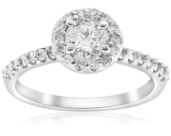 Diamond Halo Engagement Ring 1 Carat White Gold Round Diamond Engagement Ring Brilliant Cut 14k Pave