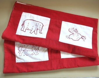 Vintage Baby Quilt Red Work Embroidery 44 by 40 Inches 507b