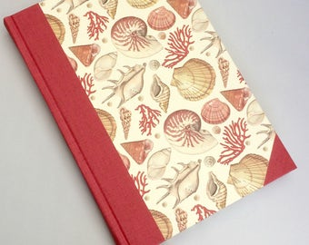 A5 handmade blank notebook - Hardback notebook - Handmade journal - Sketchbook - Seashells notebook - Unlined pages