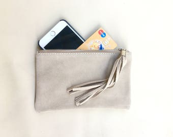 Small genuine suede leather BAG in light BEIGE, iPhone case, Cosmetic bag, Make up bag,Purse in CREAM, soft leather.