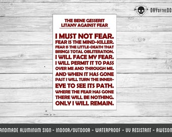 Litany Against Fear bene gesserit I must not fear metal sign geek gift nerd wall hanging