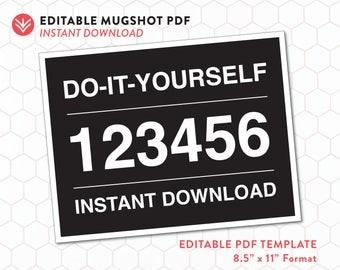 DIY Mugshot Sign | Mugshot Template | Instant Download | Editable PDF