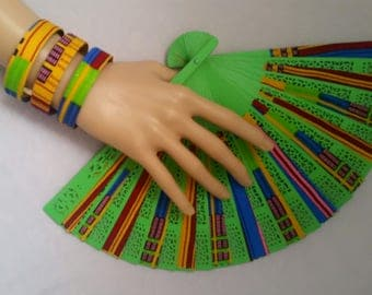 Kente/wood hand fan and bangle set - unique bridesmaid/maid-of-honor gift