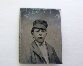 antique miniature gem tintype photo - 1800s, young boy with cap