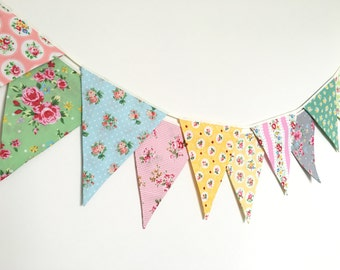 Shabby Chic Fabric Banners, Bunting, Garland, Wedding Bunting,  Flags - 3 yards (10th version)