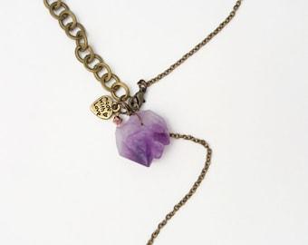 Raw Amethyst Necklace - Purple Amethyst Jewelry, February Birthstone, Raw Crystal Necklace