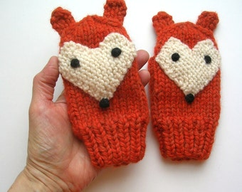 Fox Mittens, Hand Knit, 3-4 year old size
