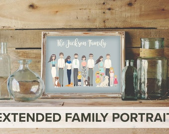 extended family custom portrait, custom family portrait, personalized portrait, personalized family portrait, Custom couple, custom wedding