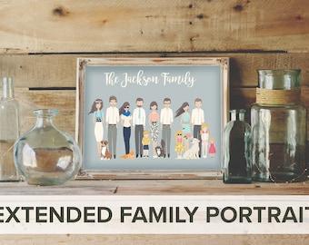 extended family custom portrait, custom family portrait, personalized portrait, personalized family portrait, Custom couple, custom wedding