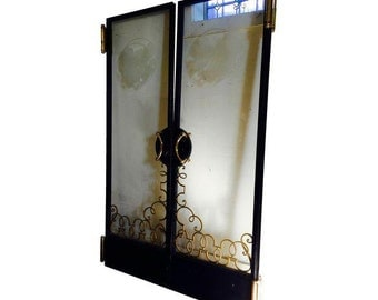 Art Nouveau Vintage Etched Glass and Heavy Multi-Metal Double Cruise Ship Doors
