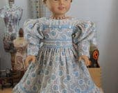 1830's Style Dress with Gigot Sleeve in Light Blue for 18 Inch Doll, C231