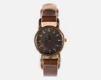 Vintage Steampunk Handmade Wrist Watch with Handstitch Leather Band /// Zzinum - Perfect Gift for Birthday, Anniversary