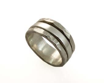 Sterling silver spinner ring, Wide spinner ring, Worry ring. fidget ring, meditation ring, mens band, men wedding band, men wedding ring