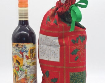 Christmas Bottle Bag, Drawstring Bag, Cloth Gift Bag, Fabric Bottle Bag, Christmas Gift Wrap, Gift Wrap, Holiday Cheer