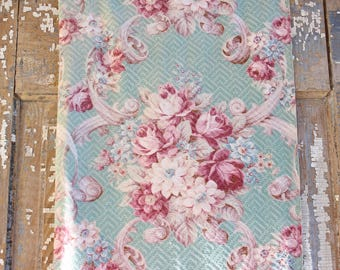 Scrolled Raspberry Cabbage Roses Nubby Aqua Vintage 40s Barkcloth Fabric Panel