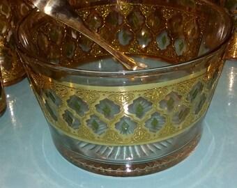 Vintage Culver Valencia 22K Mid Century Modern Hollywood Regency Barware Glass Ice Bucket Container Server & Tongs
