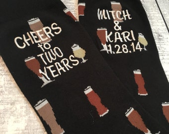 Anniversary Socks - Beer Socks - cotton - second anniversary gift - mens dress socks - husband gift - two year anniversary gift - Beer Gift