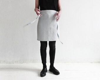 Dove grey linen apron, Light grey half apron, Linen Chef apron, Linen waist apron, Handmade soft linen apron for men and women