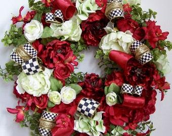 Winter Wreath, Spring Wreath, Valentine Wreath, Door Wreath, Peony Wreath, Red Wreath, red Roses Wreath