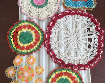 Vintage Collection of Bright Colored Scallop Edge Crocheted Doilies - Cottage Chic - Shabby Chic