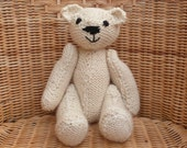 "11"" Bear Larger bear. Chunky bear. Traditional Handmade Old Fashioned  Cream Ecru White Knitted Teddy Bear in 100%  soft Aran Wool"