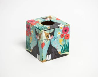 Wachtmister Cat Retro Tissue Box Cover wooden handmade in UK perfect in homes/ hotels