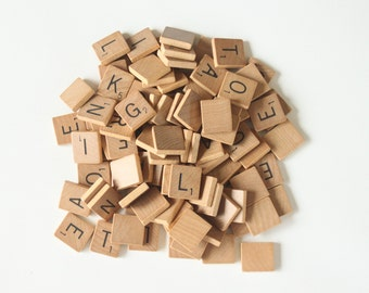 Vintage Wood Scrabble Tiles Lot of 99