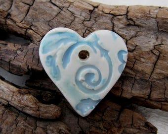 Blue White Brocade Ceramic Heart Pendant