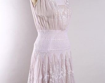 1920's Antique Embroidered light purple voile cotton dress | Hungarian | Hand sewn| Small XS
