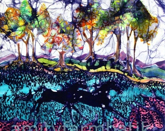 Horses Running Below Hills - Limited Edition Giclee print from original batik