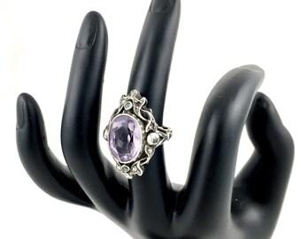 Edwardian Art Nouveau Sterling, Amethyst, Peridot, Pearl Ring