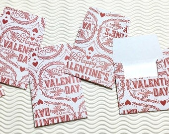 12 teeny tiny miniature square Valentine envelope mini note card sets stationery party favors weddings guest book