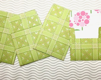 12 teeny tiny miniature square envelope note sets green glitter stationery party favors weddings guest book table number