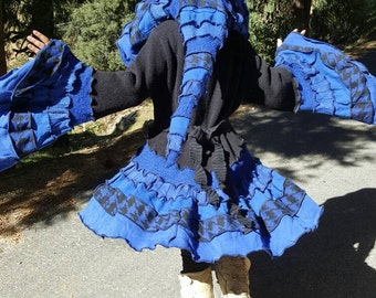 AVAILABLE NOW!!! Vintage Upcycled Sweater Cloak / Victorian Bustle Coat (Black&Blue)