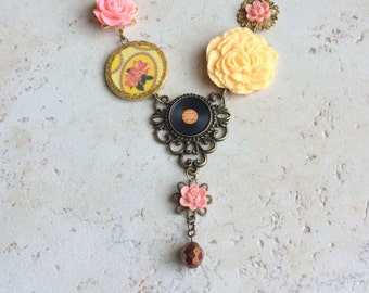 Record Album Assemblage Necklace, Yellow Pink Album Necklace, Vinyl Flower Statement Necklace, Coral Yellow Pink Necklace