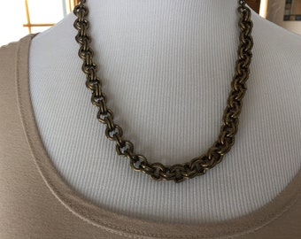 Antique brass chain necklace one of a kind
