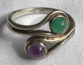 Sterling Silver Wire Ring With Green And Purple Stones-Size 6 1/2