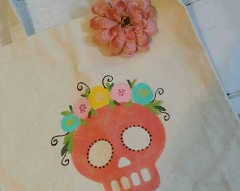 Ready to ship, OOAK Hand Painted Market Bag, Canvas Tote, Sugar Skull